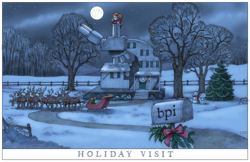 Greg wanted a Currier & Ives look to this 2010 card.