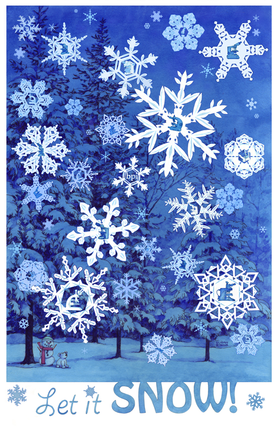 Each snowflake contains a distinct microscope in this 2012 card. There was a lettered Identify The Microscope key inside the card with the BPI web address.